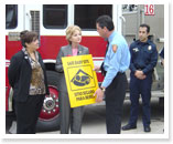 State Representative Geanie Morrison with the San Antonio Fire Department.